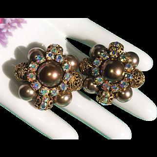 Champagne Bronze Pearls & Aurora Borealis Rhinestone Beaded Filigree Cluster Earrings