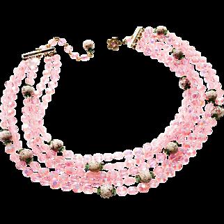 Pink Glass Aurora Borealis Beaded 5-Strand Necklace