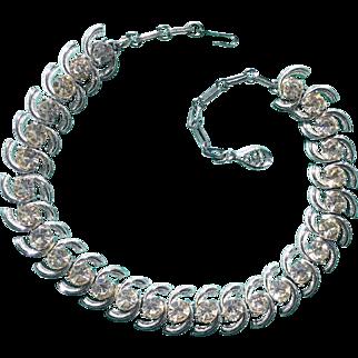Coro Clear Rhinestone Silver-Tone Choker Necklace