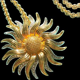 Rare Vintage Kenneth J Lane Sunburst KJL Rhinestone Sunburst Pendant / Brooch Necklace