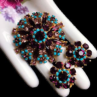 Amethyst Turquoise Rhinestone Statement Brooch Earrings Set