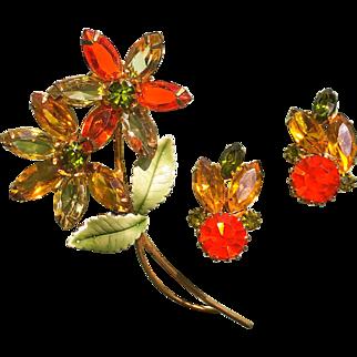Autumn Colors Rhinestone Flower Jewelry Set
