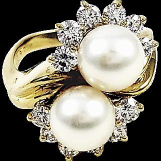 18kt Yellow Gold Kurt Wayne 2 pearl and Diamond Ring