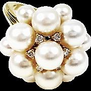 18kt Yellow Gold Kurt Wayne Diamond and Cultured Pearl Ring