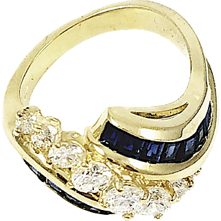 18kt Yellow Gold Kurt Wayne Diamond and Sapphire Wave Ring