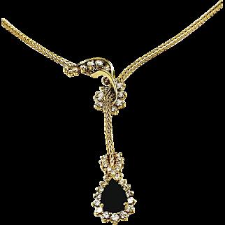 Kurt Wayne 18kt Yellow Gold Sapphire and Diamond Lariat Style Necklace