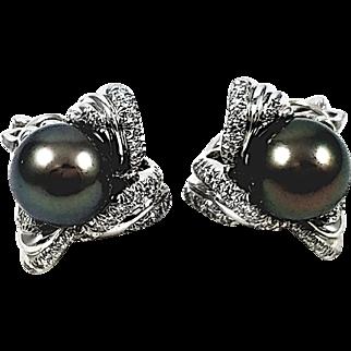 Kurt Wayne Platinum Black Pearl and Diamond Earrings