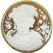 18kt Yellow Gold Vintage hand carved cameo