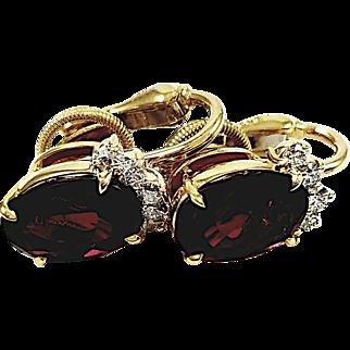 18kt Yellow Gold Kurt Wayne Oval Ruby and Diamond Earrings