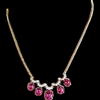 14kt Yellow Gold Kurt Wayne Rubellite Cabochon and Diamond Necklace
