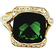 Kurt Wayne 18kt Yellow Gold Green Tourmaline and Diamond Ring