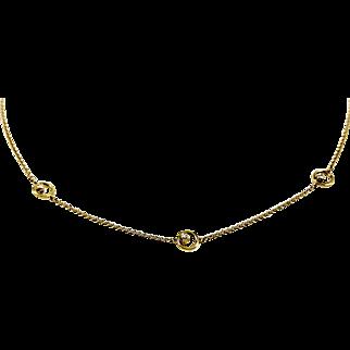 14kt Yellow Gold Kurt Wayne 3 Station Diamond Necklace