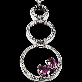Kurt Wayne 18kt White Gold Pink Sapphire and Diamond Pendant