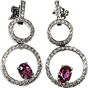 Kurt Wayne 18kt White Gold Pink Sapphire and Diamond Earrings