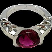 18kt White Gold Kurt Wayne Rubellite Cabochon Ring