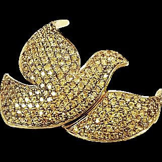 18kt Yellow Gold Kurt Wayne Yellow Sapphire Dove Pin