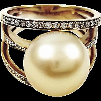 18kt  Yellow Gold Kurt Wayne Golden Pearl and Diamond Ring