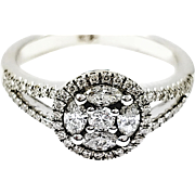 18kt White Gold Marquis and Round Diamond Ring
