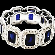 18kt White Gold Sapphire and Diamond Emerald Cut Band