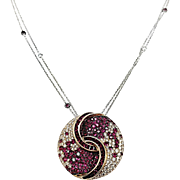 18kt White and Yellow Gold Ruby, Pink Sapphire, and Diamond Circular Pendant