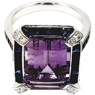 18kt White Gold Emerald Cut Amethyst, Sapphire, and Diamond Ring