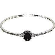 18kt White Gold Purplish Pink Spinel and Diamond Bangle Bracelet