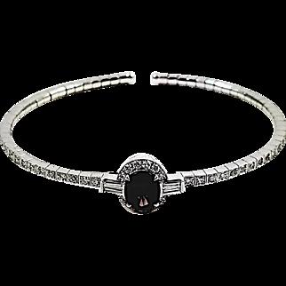 18kt White Gold Purplish Pink Spinel and Diamond Bangle Bracelet