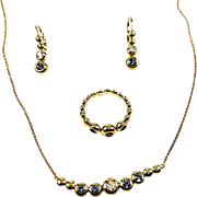 14kt Yellow Gold Diamond and Sapphire Set with Necklace, Ring and Earrings