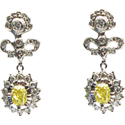 Cathy Carmendy Platinum Earrings with Yellow Diamonds