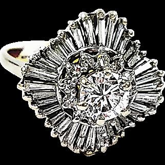 14kt White Gold Diamond Ballerina Ring