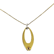 18kt Yellow Gold Oval Reversible Pendant