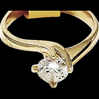 14kt Yellow Gold Single Diamond Ring