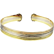 18kt 3-tone Yellow, White, and Pink Bangle Bracelet with Diamond Ends