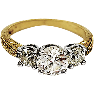 Vintage 14kt White and Yellow Gold 3-Stone Diamond Ring