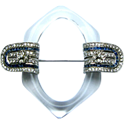 Lucite and Sapphire Platinum Brooch