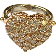 14kt Yellow Gold and Diamond Heart ring