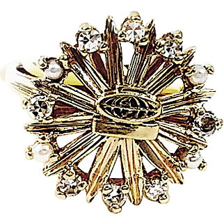 10kt  Sun Ring with small crown detail