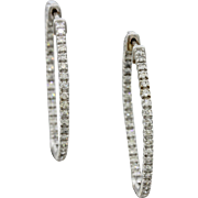 $2750 14k White Gold 1.55ct G-H SI1-SI2 Diamond Hoop Earrings
