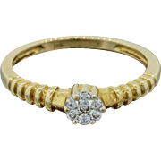 18k Solid Yellow Gold .28ctw Diamond Stackable Band Ring