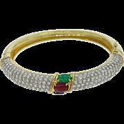 18k Yellow Gold 4ctw Diamond Emerald Sapphire Ruby Bangle Bracelet
