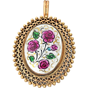 Vintage Estate 14k Rose Gold White Pink Enamel Flower Pendant Brooch Pin
