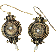 1820s Antique Georgian 14k Solid Yellow Gold Etruscan Pearl Drop Earrings