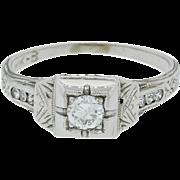 1920s Vintage Art Deco Platinum 1.00ctw Diamond Engagement Ring EGL $4890