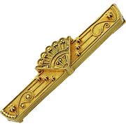 1880s Antique Victorian Estate 14K Yellow Gold Etruscan Revival Bar Pin Brooch