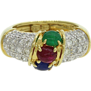 18k Yellow Gold 0.75ctw Emerald Ruby Sapphire 1.0ctw Diamond Ring