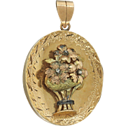 1870s Antique Victorian 14k Solid Yellow Green Rose Gold Flower Locket Pendant