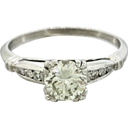 1930s Vintage Art Deco Platinum 0.91ct I-J VS2 Diamond Engagement Ring