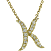 18k Solid Yellow Gold 0.5ctw Diamond Kurt Wayne K Initial Necklace MSRP $4500