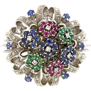 18k Solid White Gold Ruby Emerald Sapphire Diamond Cluster Ring