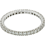 18k Solid White Gold Diamond 1.05ct Eternity Wedding Band Ring